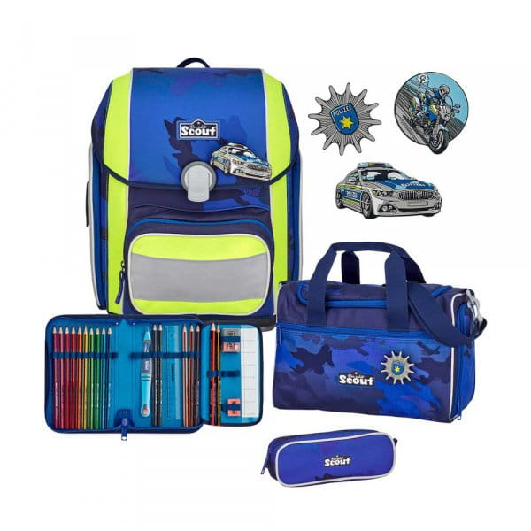 Scout Genius Schulranzen-Set 4tlg Blue Police